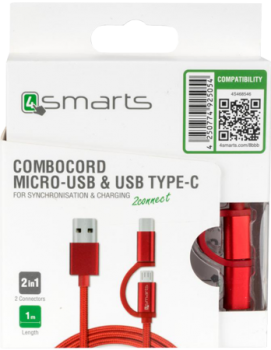 combocord microusb type-c red