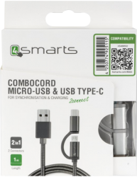 combocord microusb type-c silver